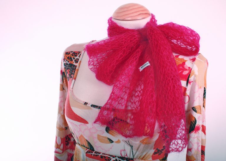 Hot Pink Lace Scarf, handmade by WildCat Designs