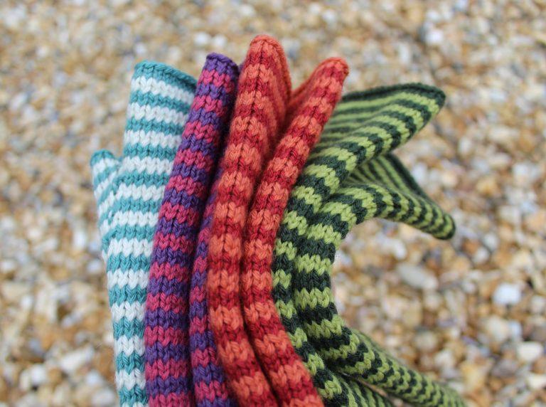 Striped mittens by WildCat Designs